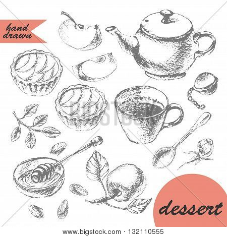 Hand drawn pencil sketch of tea and dessert. Teapot apple tarts tea cup spoon honey and apple.