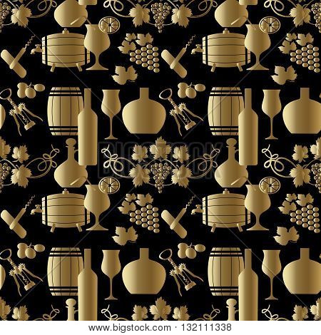 Seamless pattern from wine set. On the black background are gold grapes, corkscrew, barrel, barrel with a tap, bottle, glass with lemon and straw, grape leaves.