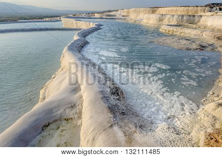 Close-up of travertine pools and terraces in Pamukkale.