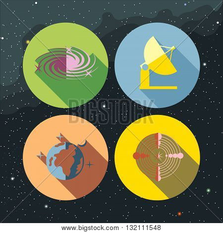 Space icons set with stars and galaxies planet earth antenna and radar. Digital vector image.
