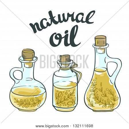 Set of bottles with linseed and olive oil. Vector isolated objects.