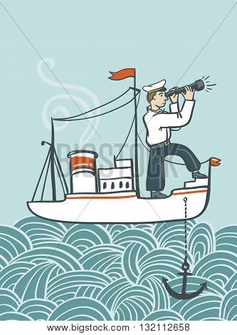 Vector hand drawn sea poster with ship waves and seaman. Creative vintage style illustration.