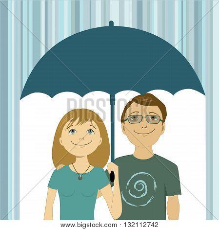 Cute happy cartoon couple under umbrella, hiding from the rain, vector illustration
