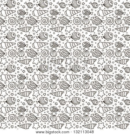 Vector seamless pattern with fish star shell and bubble. Hand drawn doodle sea elements. Black and white background.