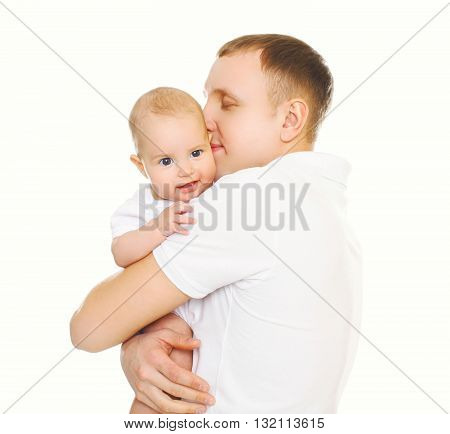 Loving Father Hugging Baby On A White Background