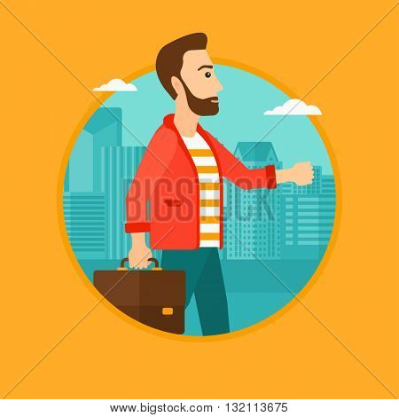 A hipster businessman walking with a briefcase in city street. Businessman with a briefcase. Businessman walking down the street. Vector flat design illustration in the circle isolated on background.