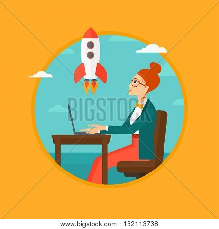 A business woman sitting at the table and looking at a flying rocket. Business woman working on laptop. Business start up concept. Vector flat design illustration in the circle isolated on background.