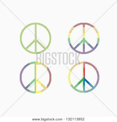 Set of peace symbols on white background. Vector illustration.