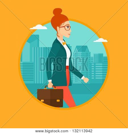 A business woman walking with a briefcase in city street. Business woman with a briefcase. Business woman walking down the street. Vector flat design illustration in the circle isolated on background.