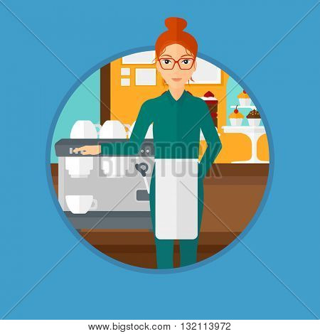 A female barista sanding in front of coffee machine. Barista at coffee shop. Professional barista making a cup of coffee. Vector flat design illustration in the circle isolated on background.