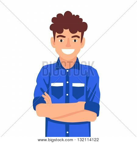 Portrait of a boy on a belt. The concept of school education. Confident young man standing with his arms folded. Vector illustration on white background.
