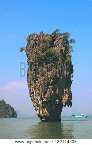 James Bond Island in Thailand. James Bond Island Phang Nga Thailand. Tropical island of James Bond. View of Khao Tapu Island. Called James Bond Island too.