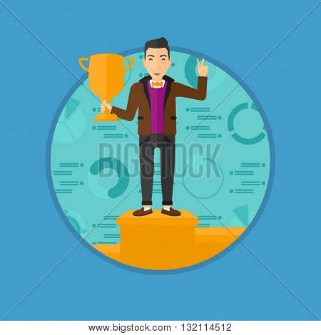 A businessman standing on a pedestal with winner cup. Businessman celebrating his business award. Business award concept. Vector flat design illustration in the circle isolated on background.