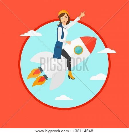 Businesswoman flying on the business start up rocket and pointing forefinger up. Successful business start up concept. Business vector flat design illustration in the circle isolated on background.