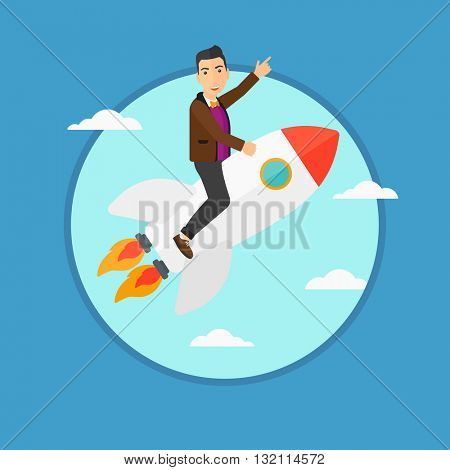 Businessman flying on the business start up rocket and pointing his forefinger up. Successful business start up concept. Business vector flat design illustration in the circle isolated on background.