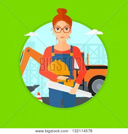 An engineer with blueprint at construction site. Woman holding twisted blueprint and hard hat. Woman checking construction works. Vector flat design illustration in the circle isolated on background.