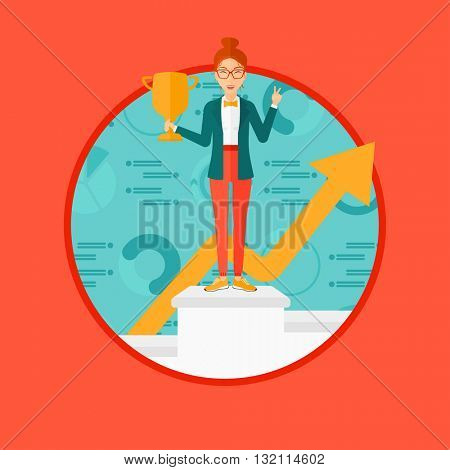 A business woman standing on a pedestal with winner cup. Business woman celebrating her business award. Business award concept. Vector flat design illustration in the circle isolated on background.