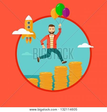 A man with balloons flying over golden coins and a business start up rocket flying nearby. Business start up and growth concept. Vector flat design illustration in the circle isolated on background.