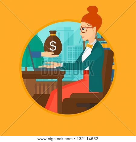 A woman sitting at the table in office and a bag of money coming out of her laptop. Online business concept. Business vector flat design illustration in the circle isolated on background.
