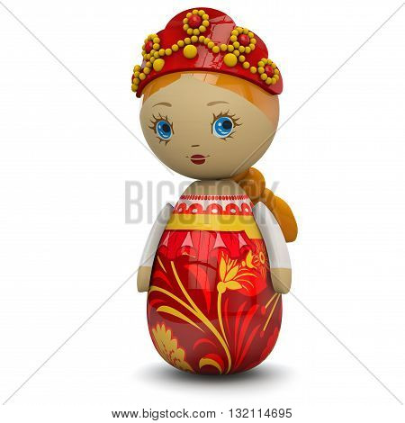 Russian or East European girl wooden doll toy painted in traditional style. 3D rendering Isolated on white and including clipping path for easy selection.