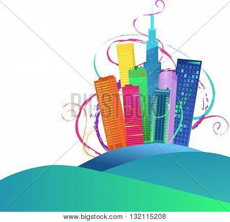 Colorful cityscape on the horizon, EPS8 vector illustration