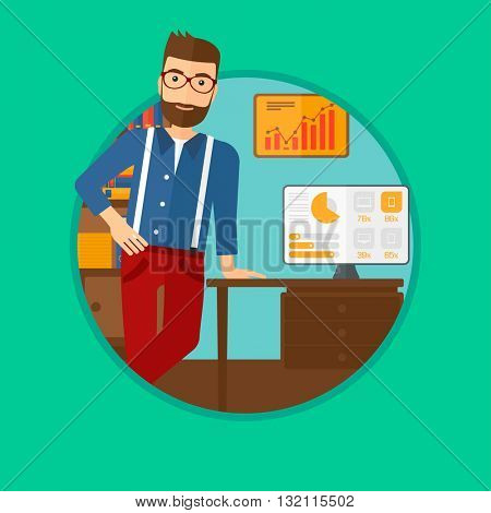 A businessman leaning on a table in the office during business presentation. Man giving a business presentation. Business presentation in progress. Vector flat design illustration in the circle.