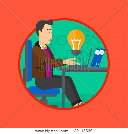 A businessman working on his laptop in office and a big idea bulb above the table. Successful business idea concept. Business vector flat design illustration in the circle isolated on background.