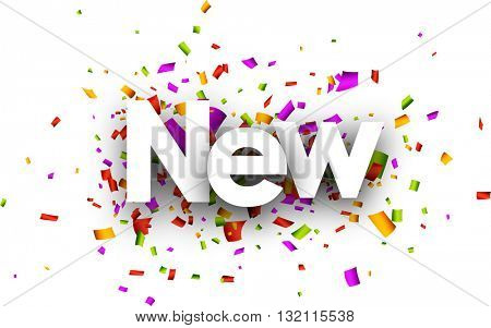 New paper banner with color confetti. Vector illustration.