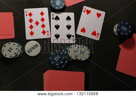 Poker play. Chips and cardstexas holdem game.