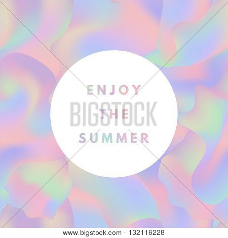 Summer hipster boho chic background with holographic mesh layout. Minimal printable journaling card, creative card, art print, minimal label design for banner, poster, flyer.