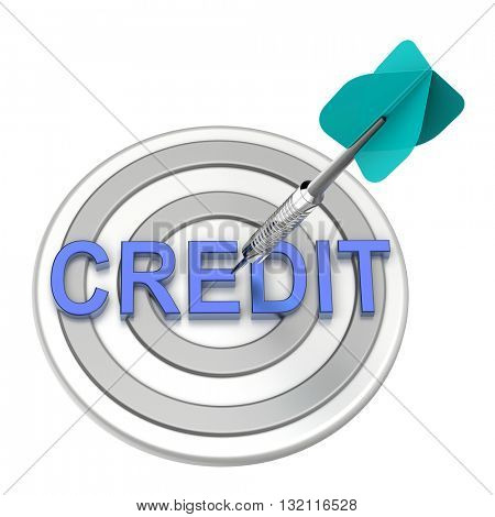 Blue dart on the target with credit text on it. 3D illustration.