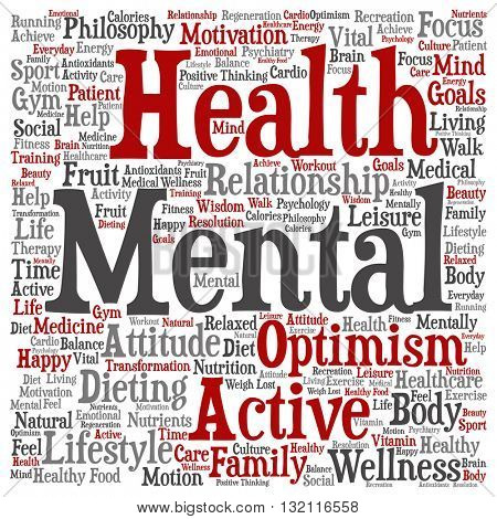 Concept or conceptual mental health or positive thinking square word cloud isolated on background, metaphor to optimism, psychology, mind, healthcare, thinking, attitude, balnce or motivation