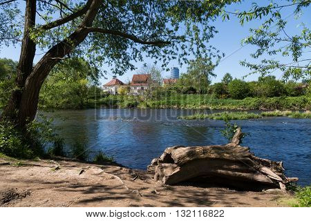 Jena in the spring on Saale shore, Thuringia