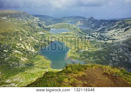 Panoramic view of The Twin,  the Trefoil , The fish and The Lower lakes, The Seven Rila Lakes, Bulgaria