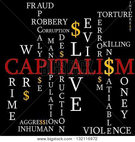 Illustration capitalism as the background with the words and messages.