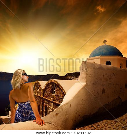 Beautiful young woman on Santorini Island (Greece)