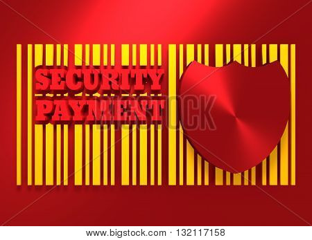Buyer protection. Internet payments security. Bar code and shield. 3D rendering
