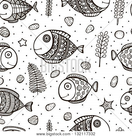 Vector seamless pattern with hand drawn doodle fish. Cute background for kids. Black and white.