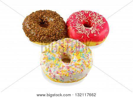 Multi-colored Donuts Into The Glaze