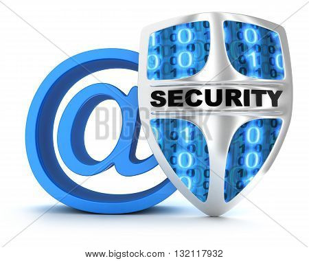Email and shield on white background (done in 3d rendering)