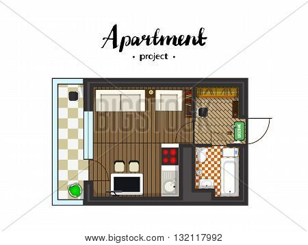 Apartment project with furniture. Studio, kitchen with living room, and balcony. Handwritten inscription. Vector illustration of top view