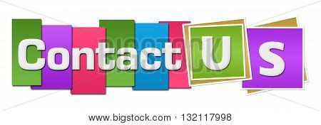 Contact us text alphabets written over colorful background.