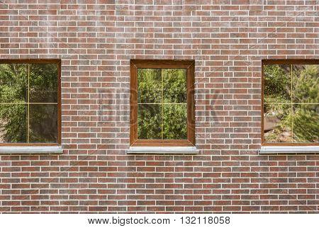 Window with open wooden shutters