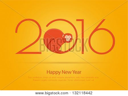 Card for the new year with the fire monkey and 2016. A bright illustration for postrera or printing.