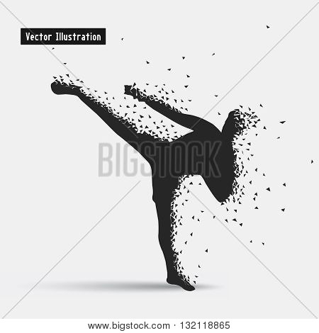 Kickboxing. Vector eps10 illusration. Particle divergent composition