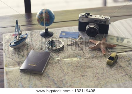 Compass, Passport, Credit Card, Banknote, Globe, Camera,map, Car Ship And Starfish Figurine For Use