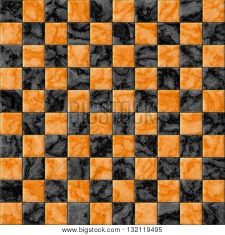 Checkerboard decorative texture - orange and black pattern