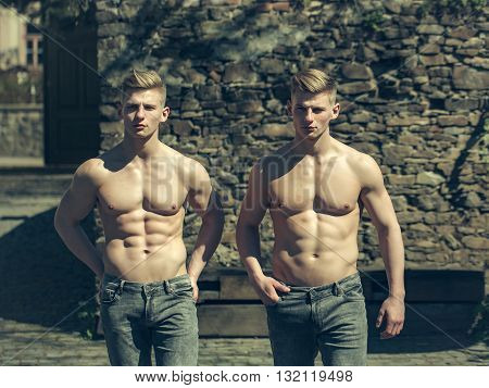 Twin Brothers With Bare Chest
