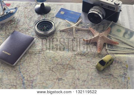 Compass, Passport, Credit Card, Banknote, Globe, Camera, Map, Car Ship And Starfish Figurine For Use