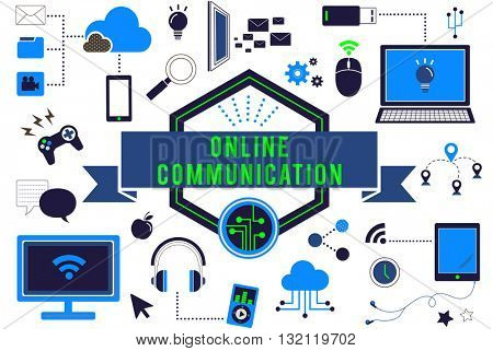 Online Communication Technology Digital Devices Concept